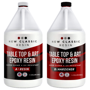 EPOXY-RESIN-1-Gallon-Kit-ART-CRAFTS-amp-TABLE-TOPS-SUPER-CLEAR-NEW-CLASSIC-RESIN