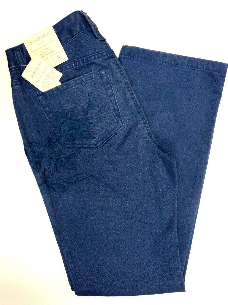 NWT Liz Claiborne Embroidered Slim w  Flared Leg Jeans sz 4-Org  79