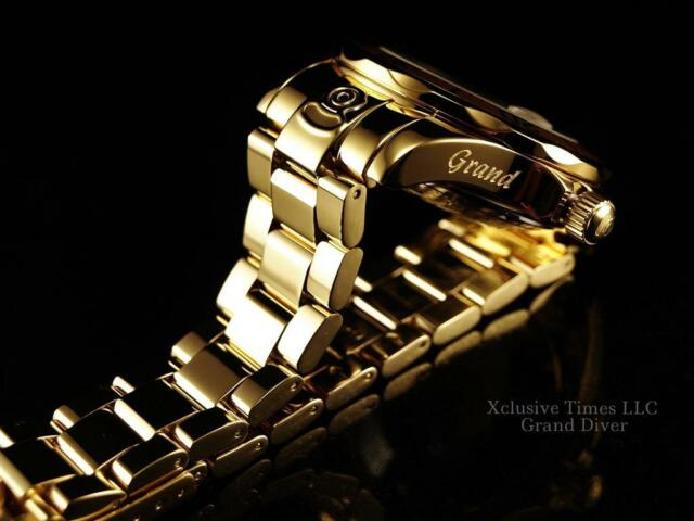Invicta Men Grand Diver Automatic Polished 18K Gold IP BLACK MOP Dial Watch-Rare