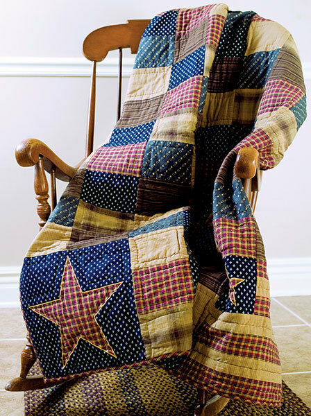 New Primitive Americana Flag Star PATRIOTIC PATCH Patchwork Quilt Blanket Throw