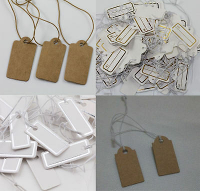 DIY Lots 1000pcs Brown Jewelry Merchandise Strung Price Tags with String 30x15mm