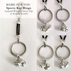 e5f185ecc Sports 3D Ball Key Ring Initial Keychain Wristlet Leather Player ...