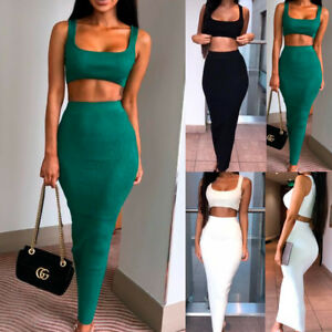 026080bffd Women 2 Piece Bodycon Crop Top Bra Long Skirt Set Maxi Dresses Co ...