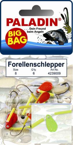 Farben und Größe Big Bag Forellenschlepper Forellen Haken Spin Angeln versch