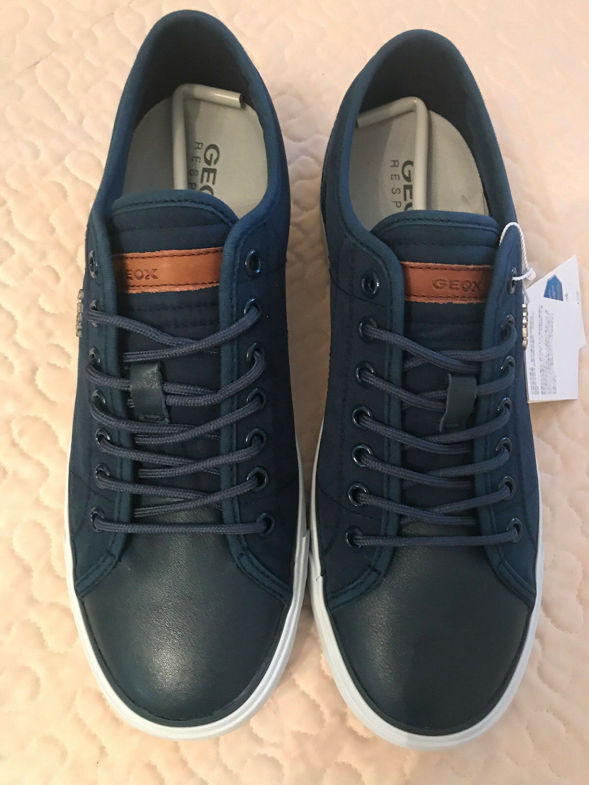 GEOX Respira Homme Bleu Marine Confort Daim Chaussures en cuir, taille 7 (US), new in box