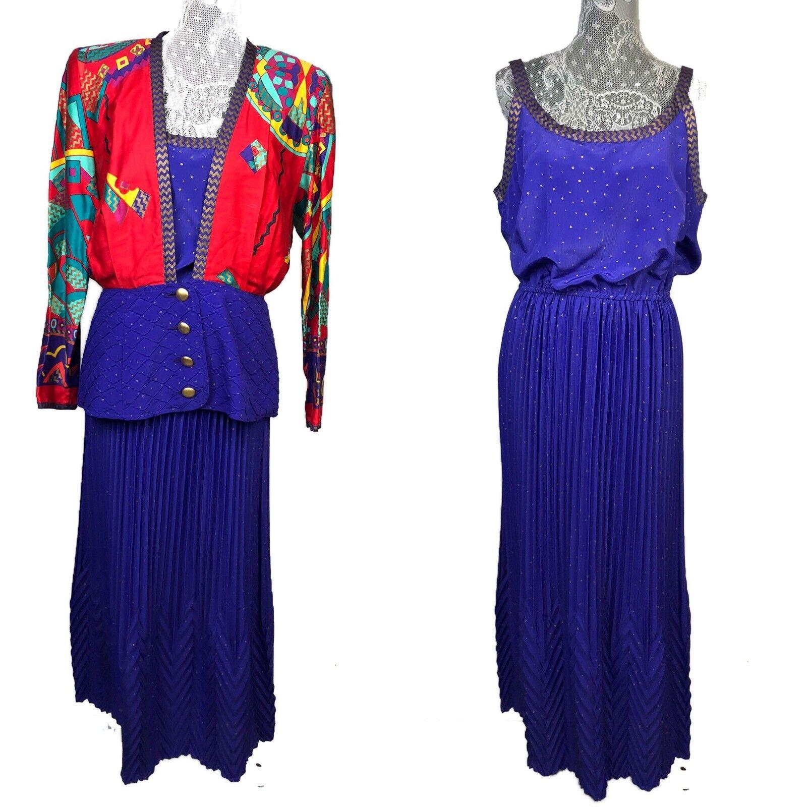 Jeanne Marc Vintage Medium 12 14 Pleated Dress Farbeful Blazer Art To Wear Party