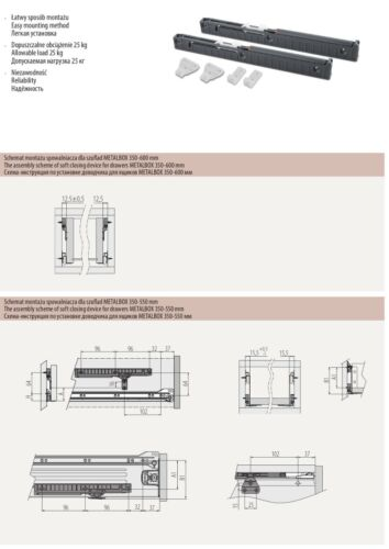Metal Roller Bottom Fix Kitchen Drawer Runners Slides 250mm-600mm White Brown