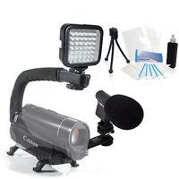 Light & Sound Bundle Kit For Sony Handycam Hdr-cx290 Hdr-cx330 Hdr-pj340