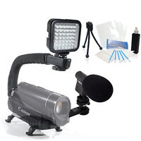 Light & Sound Bundle Kit For Sony Handycam Hxr-nx30 Hxr-nx5u Hxr-nx70u