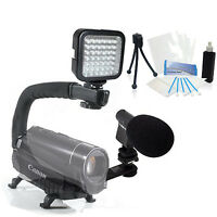 Light & Sound Bundle Kit For Sony Handycam Hdr-cx290 Hdr-cx330 Hdr-pj340