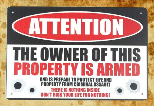 US Seller plaques property owner is armed Pro Gun 2nd Amendment tin metal sign
