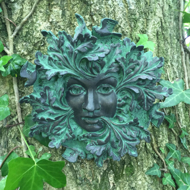 Bronze Queen Green Man Garden Gift Wall Plaque Outdoor Ornament ...