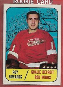 67-68-TOPPS-106-ROY-EDWARDS-RC-DETROIT-RED-WINGS-Look-Picture-For-Condition