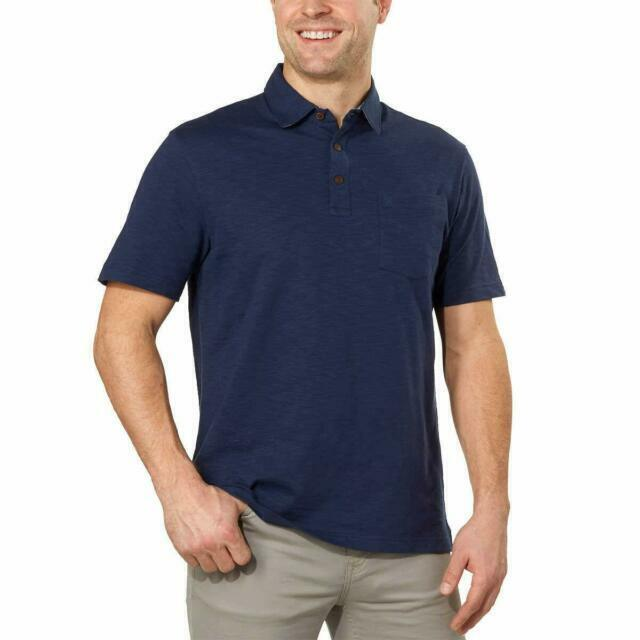 IZOD Mens Large Navy Blue Polo Shirt Chest Pocket Short Sleeve Soft Touch