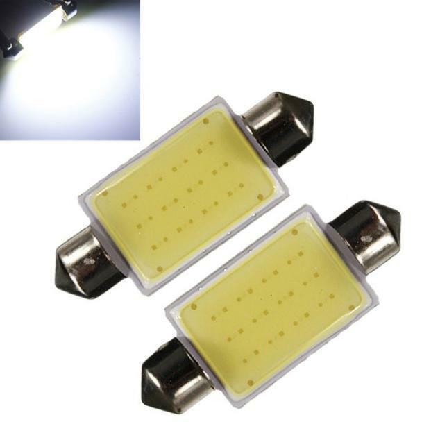 2Pcs Car Lights 41mm Festoon COB 12 Chips DC 12V LED Car Dome Reading Light Bulb