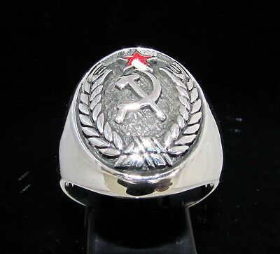 STERLING SILVER MEN'S CREST RING HAMMER AND SICKLE RED STAR COMMUNIST ANY SIZE