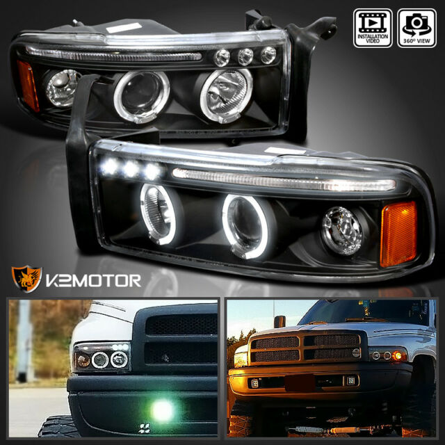 1994 2001 Dodge Ram 1500 2500 3500 Halo Led Projector Headlights Black Pair
