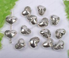 30pcs tibet silver heart-shaped beads 10mm diy findings