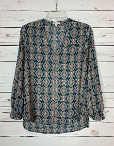 Pleione-Anthropologie-Women-039-s-Small-Petite-SP-Blue-Boho-Fall-Top-Blouse-Shirt