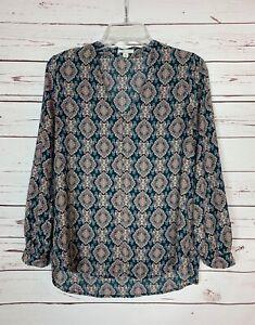Pleione-Anthropologie-Women-039-s-Small-Petite-SP-Blue-Boho-Fall-Top-Blouse-Shirt
