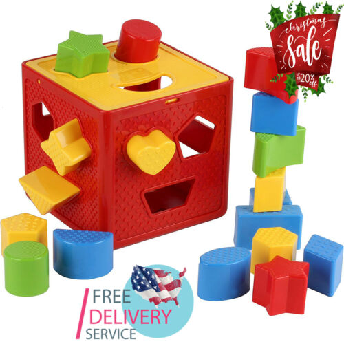 Includes 18 Shapes Christmas Gift Toys For Kids Baby Blocks Shape Sorter Toy