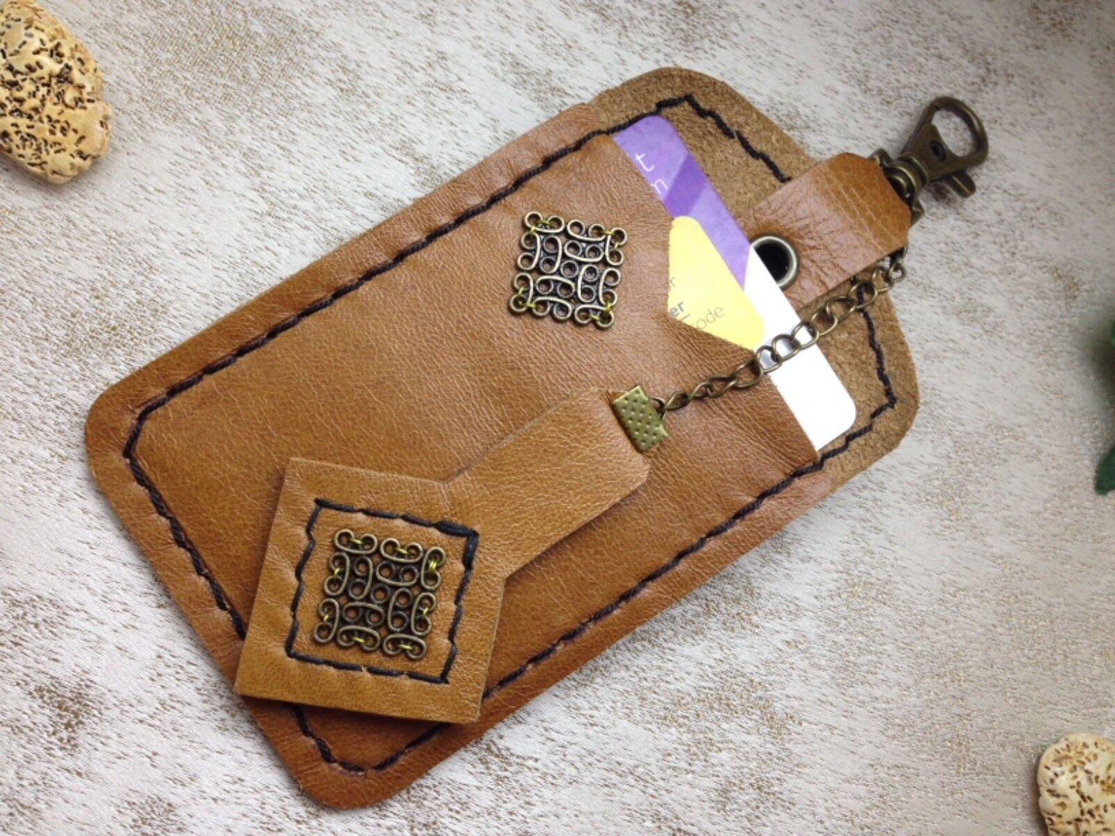 Handmade Leather ID Card Holder Plus Matching Key Chain Steampunk Festival LARP