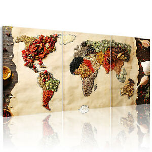 Canvas wall art food world map split canvas prints picture unframed image is loading canvas wall art food world map split canvas gumiabroncs Image collections