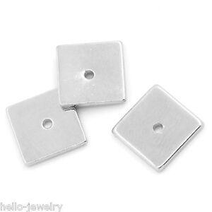 30-Neu-Silberfarbe-Quadratisch-Kuerbis-Spacer-Perlen-Beads-8x8mm-B26577