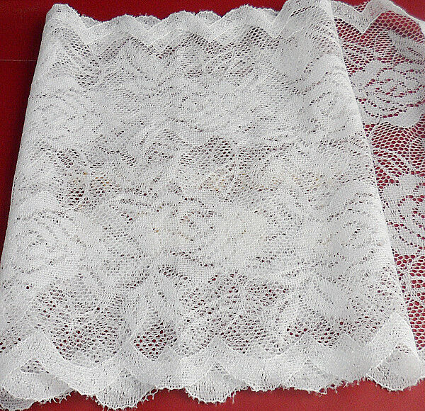 Good 1 Yard 15cm rose pattern cotton wide elastic lace trimming BH94