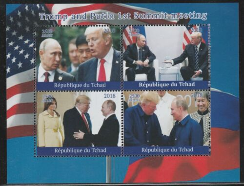 Chad 7745 2018 TRUMP & PUTIN perf sheet of 4 unmounted mint