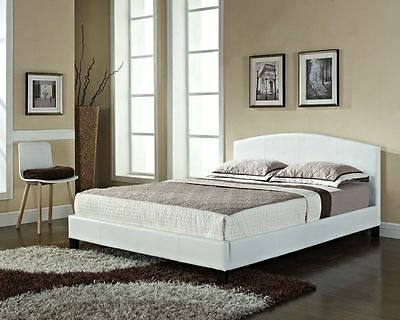 Double King Size or Single Faux Leather Bed Frame BLACK BROWN WHITE and Mattress