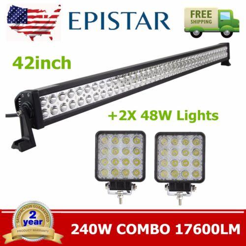 42inch 240W LED LIGHT BAR SPOT FLOOD OFFROAD DRIVING LAMP 4WD+2X 48W Spot Lights