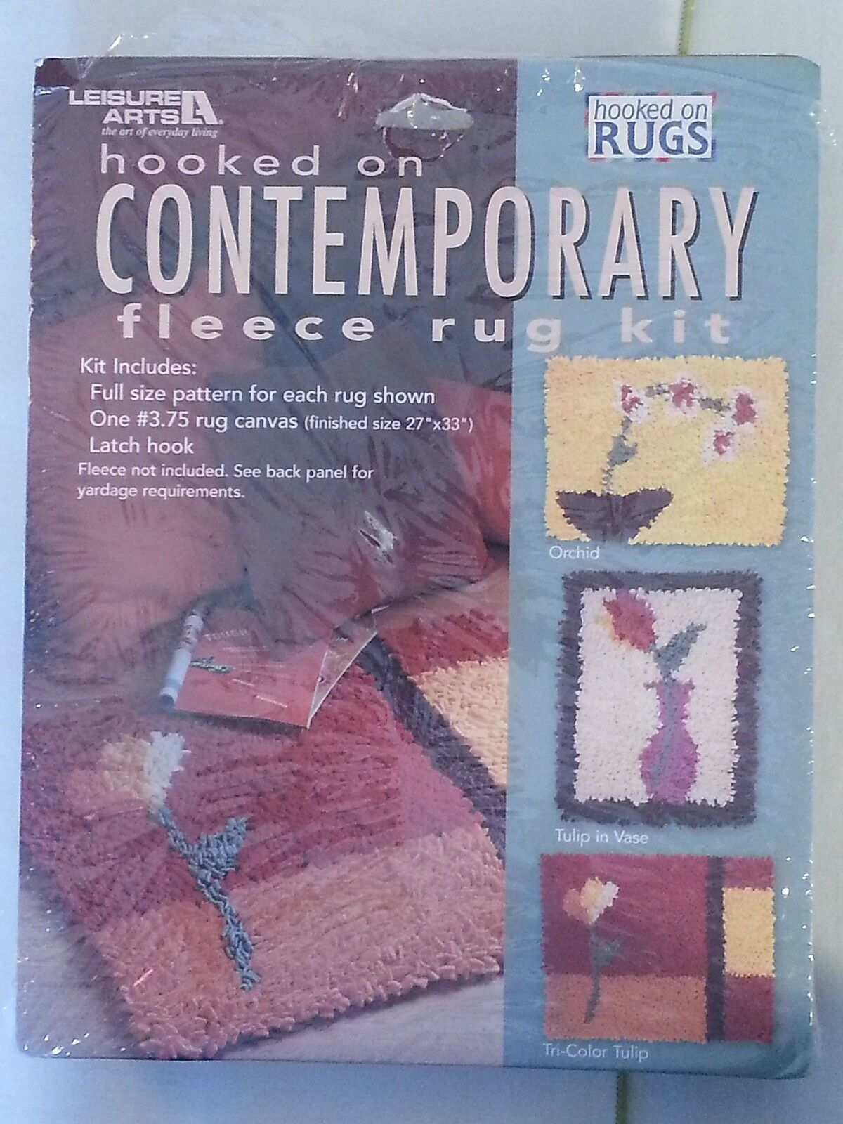 Single Stem Florals Leisure Arts Hooked On Contemporary Fleece Rug Kit 16002