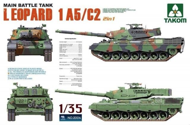 Takom 1/35 2004 Main Battle Tank Leopard 1 A5/c2 2in1 Model Kit