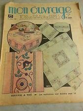 MON OUVRAGE  1938  n°362 sac tapisserie bébé richelieu et Venise trousseau