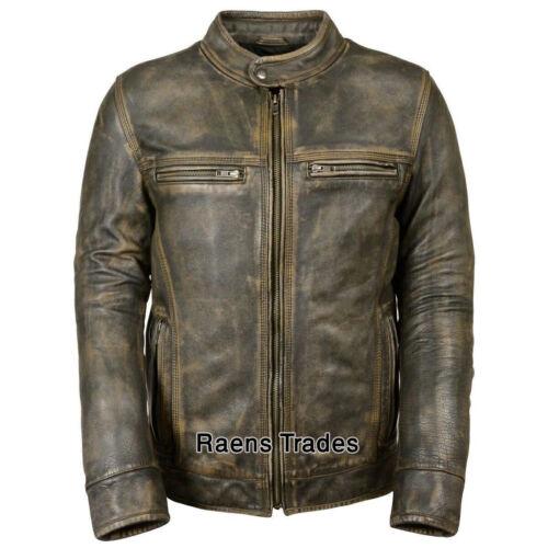 Men/'s Distressed Motor Vintage Biker Retro Motorcycle Cafe Racer Leather Jacket