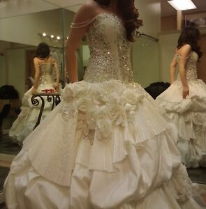 Image Is Loading Brand New Designer Wedding Gown With Swarovski Crystals