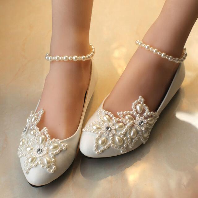 Sparkling Full Toe Flat Across Diamonds Gorgeous Bridal Lace Wedding Shoes
