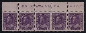 Canada-Sc-112iii-1925-5c-Admiral-PLATE-STRIP-w-REDRAWN-FRAMELINE-Mint-VF-NH