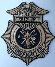 HARLEY DAVIDSON MOTORCYCLES  FIRE FIREFIGHTER  PATCH  Gray//black
