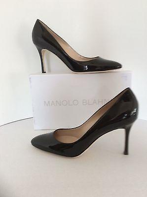 Manolo Blahnik Lisa Black Patent Leather Pump Pointy size 37