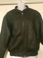 USA Bikers Dream Apparel Leather Jacket Motorcycle w/ Liner Sz 46 Men's Black
