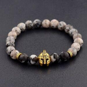 Charm-Men-Natural-Opal-amp-Black-Lava-Stone-Gold-Spartan-Helmet-Bracelet-8mm-Beaded