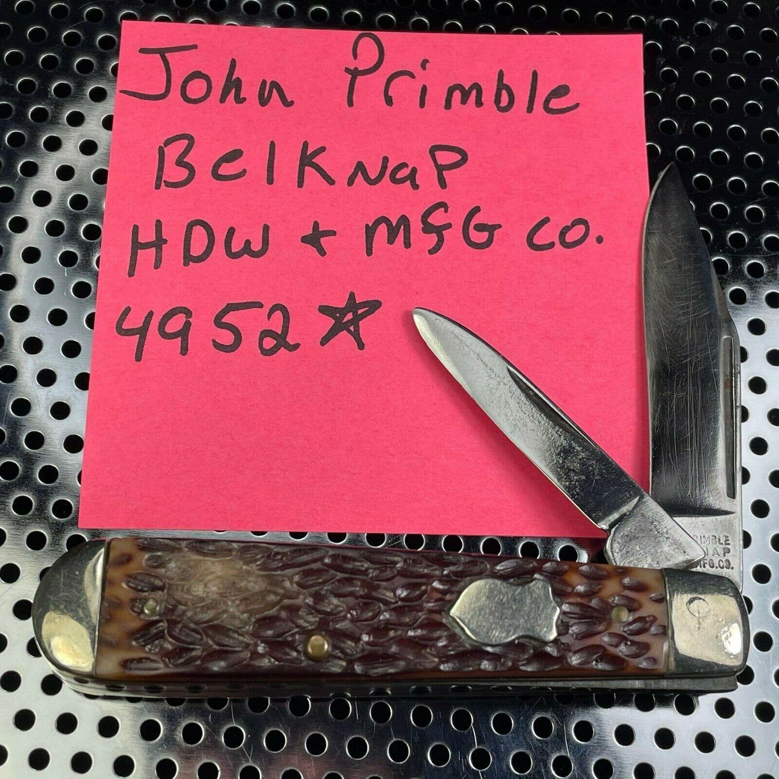 VINTAGE JOHN PRIMBLE BELKNAP HDW & MFG CO. #4952 2 BLADE POCKET KNIFE