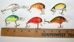 6-lot-USED-Bandit-Crankbait-Fishing-Lures-Multi-Style-CB42