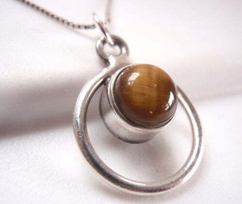 Small Tiger Eye Pendant 925 Sterling Silver Round Gem in Circle Hoop New