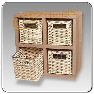 korbregal regal miniregal regal mit k rben holzregal nussdekor neu ebay. Black Bedroom Furniture Sets. Home Design Ideas