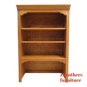 Ethan-Allen-Chippendale-Canterbury-Oak-Dresser-Hutch-Top-Shelf-A