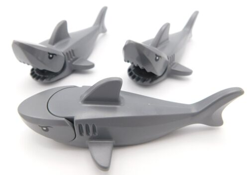 LEGO LOT OF 3 NEW DARK BLUISH GREY SHARKS ANIMALS WITH GILLS PATTERN
