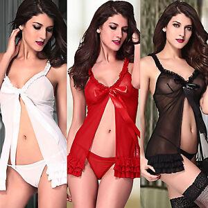 1b2729d0876d Image is loading Obsessive-Kalia-Sexy-Split-Babydoll-Chemise-Dress-Lingerie-